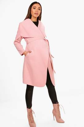 boohoo Maternity Tie Waist Shawl Collar Coat