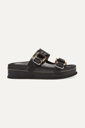 3.1 Phillip Lim Freida Leather Platform Sandals - Black