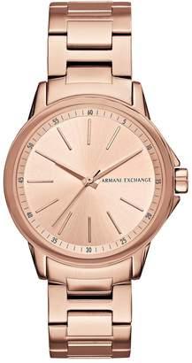 Armani Exchange Rose Tone Dial Stainless Bracelet Ladies Watch