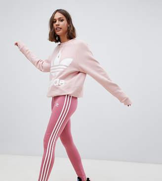 adidas Three Stripe Leggings In Pink
