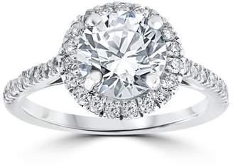 Pompeii3 2 1/3 ct Round Solitaire Diamond Halo Engagement Ring 14k White Gold Enhanced