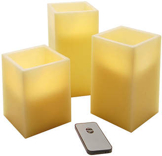 Asstd National Brand Battery Operated LED Candles with Remote Control- Square (Set of 3)