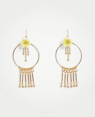 Ann Taylor Seed Bead Flower Circle Earrings