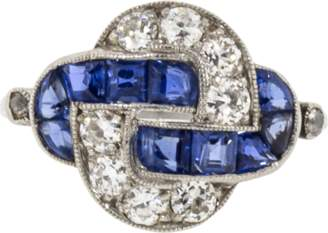 FRED LEIGHTON Art Deco Sapphire And Diamond Knot Ring