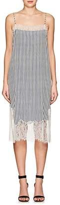 Robert Rodriguez Women's Lace-Trimmed Striped Crepe Dress
