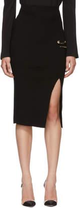 Versus Black Slit Rib Knit Safety Pin Skirt