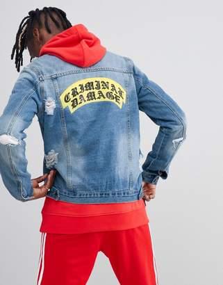 Criminal Damage Crest Ripped Denim Back Logo Jacket