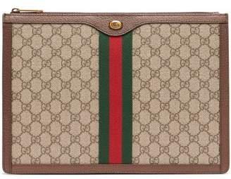 Gucci Gg Supreme Canvas And Leather Portfolio - Mens - Brown Multi