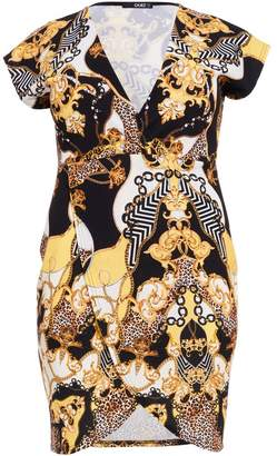 Quiz Curve Black And Gold Leopard Print Wrap Dress