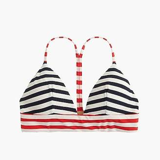 J.Crew Banded T-back bikini top in colorblocked stripe