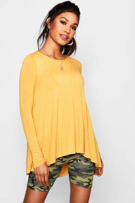 boohoo Tall Lora Long Sleeve Basic Swing Tee