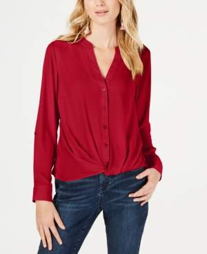 INC International Concepts I.n.c. Twist-Front Button-Up Top, Created for Macy's