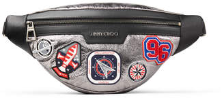 Jimmy Choo DERRY Anthracite Metallic Fabric Belt Bag with Badges