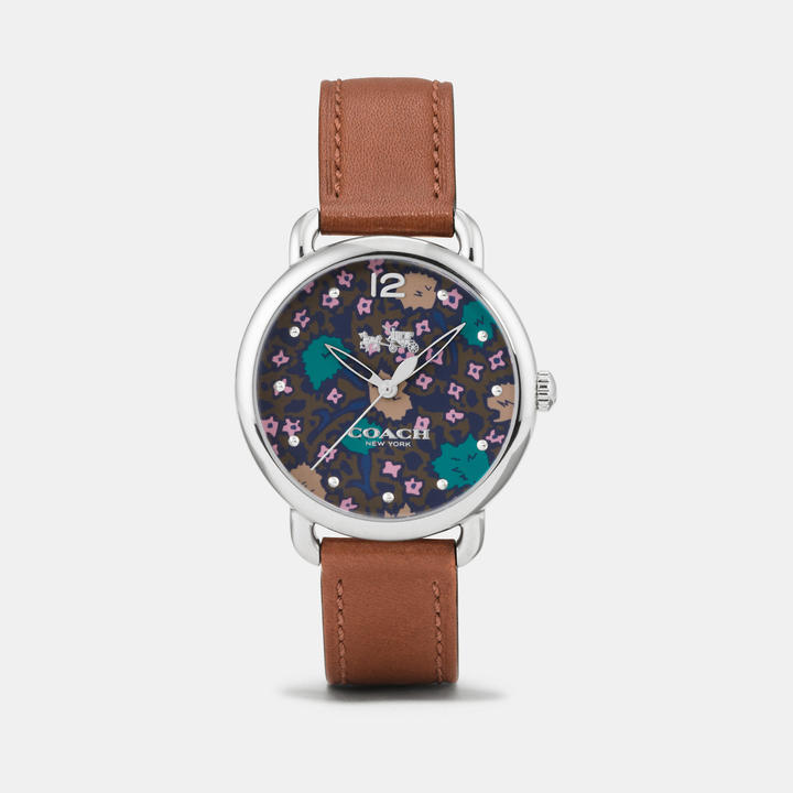 Coach  COACH Coach Delancey Stainless Steel Floral Dial Leather Strap Watch