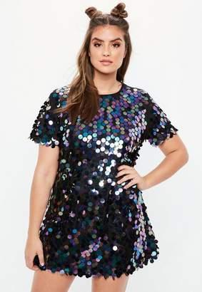 Missguided Black Sequin T Shirt Dress