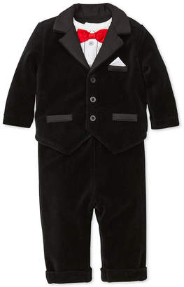 Little Me Baby Boys 3-Pc. Velour Tuxedo Jacket, Bow-Tie Bodysuit & Pants Set