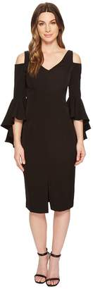 Maggy London Cold Shoulder Sheath Dress with Ruffle Sleeve Women's Dress