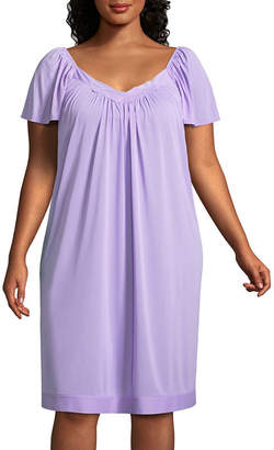Asstd National Brand Lissome Lounge Tricot Short Sleeve Sweetheart Neck Nightgown-Plus