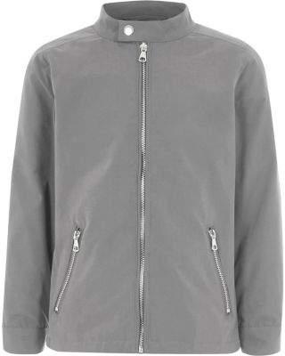 River Island Boys grey racer neck bomber jacket