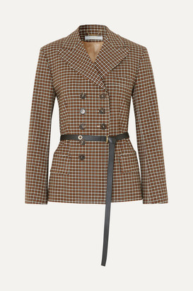 Chloé Belted Double-breasted Checked Woven Blazer - Brown