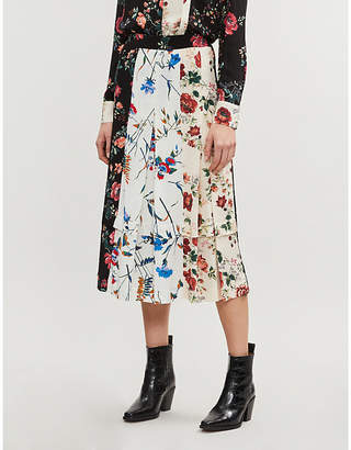 ad62bec37d Maje Rose-print contrast-panel pleated midi skirt