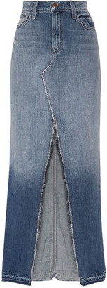 J Brand - Trystan Distressed Denim Maxi Skirt - Mid denim $260 thestylecure.com