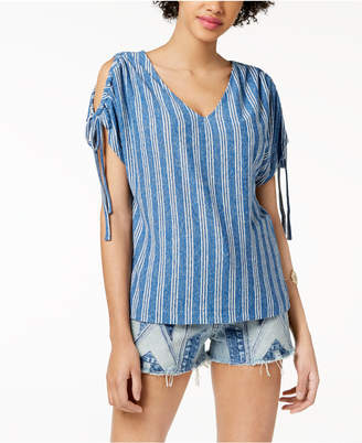Lucky Brand Striped Cold-Shoulder Top