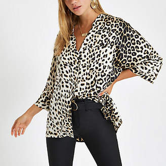 River Island Cream leopard print button up blouse
