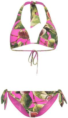 Dolce & Gabbana fig print triangle tie side bikini