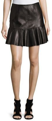 Rebecca Taylor Snakeskin-Embossed Leather Mini Skirt $795 thestylecure.com