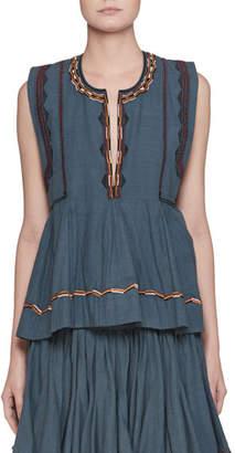 Etoile Isabel Marant Barney Split-Neck Sleeveless Chambray Blouse with Embroidery