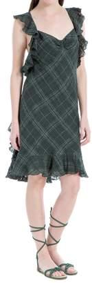 Max Studio Ruffled Shoulder Linen Plaid Dress