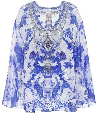 Camilla Embellished silk top