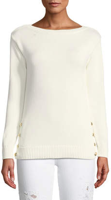 Ralph Lauren Boat-Neck Long-Sleeve Chunky Cotton Jersey Sweater w Button Detail