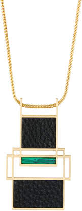 Trina Turk Long Leather & Malachite Pendant Necklace