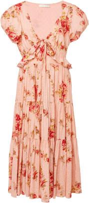 LoveShackFancy Carlton Midi Floral Tie Dress