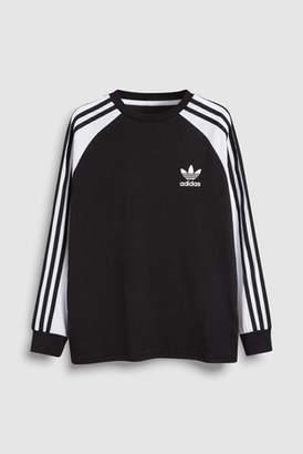 f0a3a32a Next Boys adidas Originals 3 Stripe Long Sleeve Tee