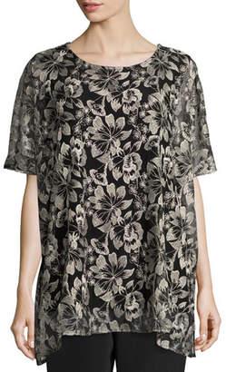 Caroline Rose Embroidered Mesh Caftan Top, Natural/Black