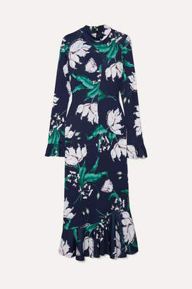 Erdem Alta Ruffled Floral-print Stretch-jersey Midi Dress - Navy
