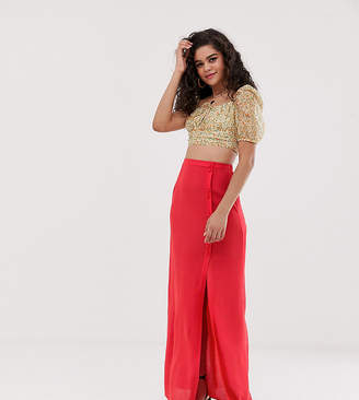 Asos Tall DESIGN Tall crinkle maxi skirt with self covered buttons