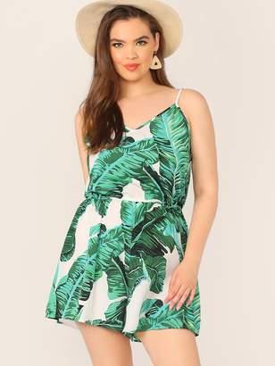 Shein Plus Tropical Print Elastic Waist Slip Romper