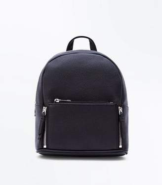 New Look Black Zip Top Curved Mini Backpack