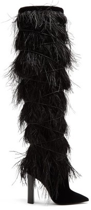 Saint Laurent Yeti Feather Embellished Over The Knee Boots - Womens - Black