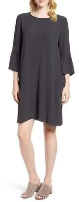 Eileen Fisher Flare Sleeve Silk Dress