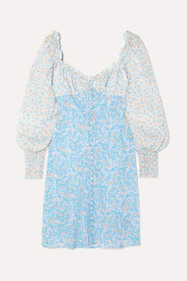 Rixo Fara Floral-print Silk Mini Dress - Azure