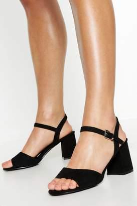 boohoo Wide Fit Peeptoe Block Heels