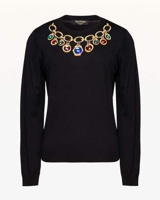 Juicy Couture Jewel Necklace Pullover Sweater