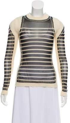 Jean Paul Gaultier Mesh-Paneled Long Sleeve Top