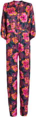 Warm Floral Smocked Waist Jumpsuit