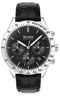 HUGO BOSS Talent Stainless Steel& Black Chronograph Leather Strap Watch